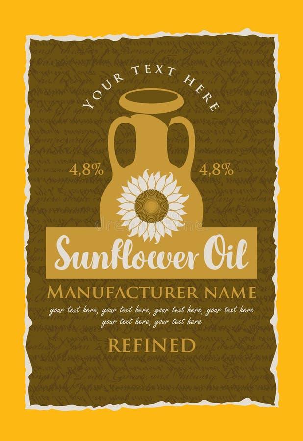 Etiqueta para o óleo de girassol refinado com um jarro ilustração royalty free