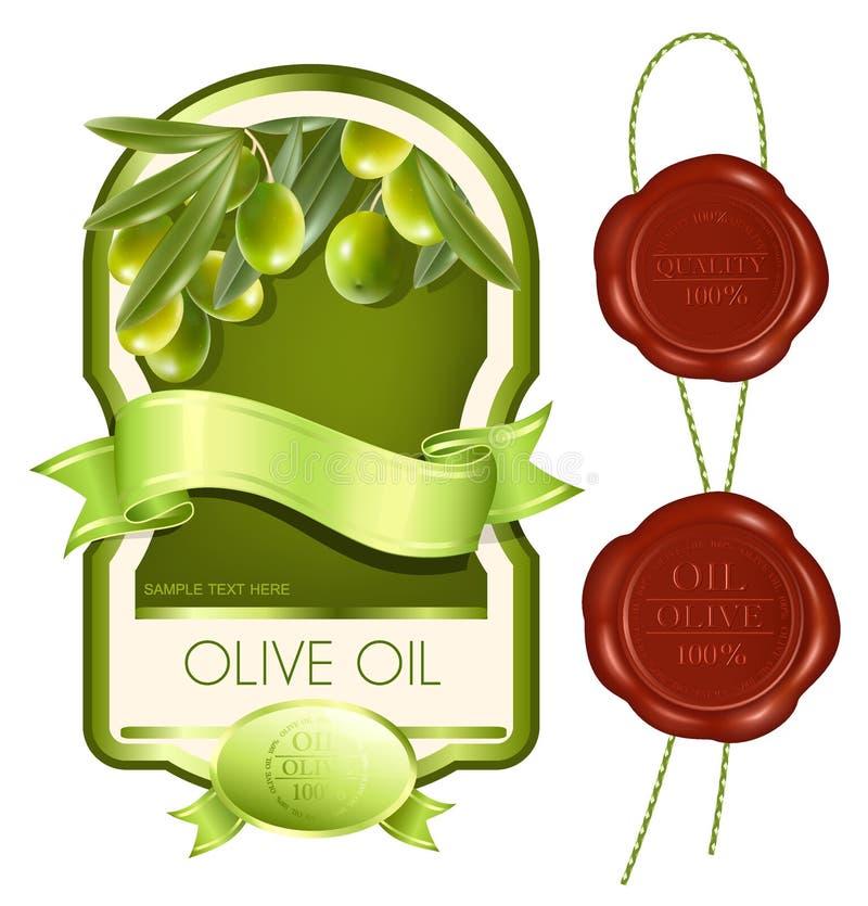 Etiqueta para o produto. Petróleo verde-oliva. ilustração stock
