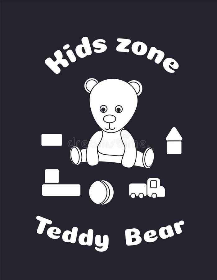 Etiqueta para o projeto da zona das crian?as Urso de peluche e brinquedos, cubos, bola, autom?vel loja do brinquedo do logotipo,  ilustração stock