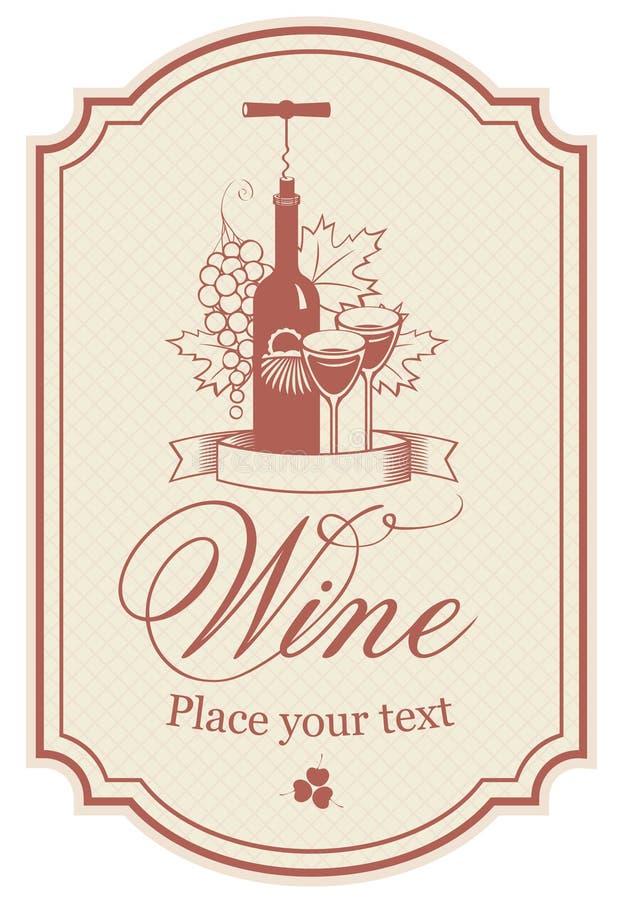 Etiqueta para o vinho ilustração do vetor