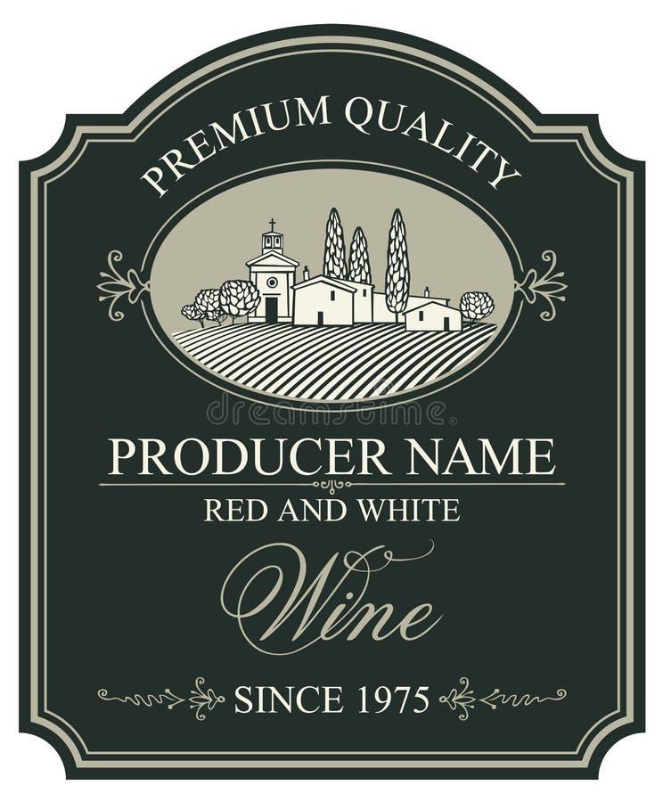 Etiqueta para o vinho com paisagem rural europeia ilustração stock