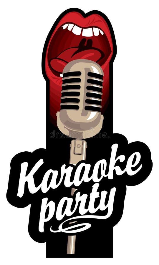 Etiqueta para um partido do karaoke ilustração stock