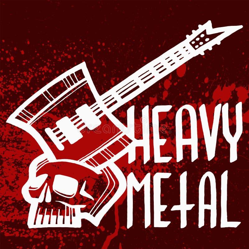 Etiqueta pesada del vintage del vector de la insignia de la música rock con el ejemplo duro del emblema de la impresión de la eti ilustración del vector