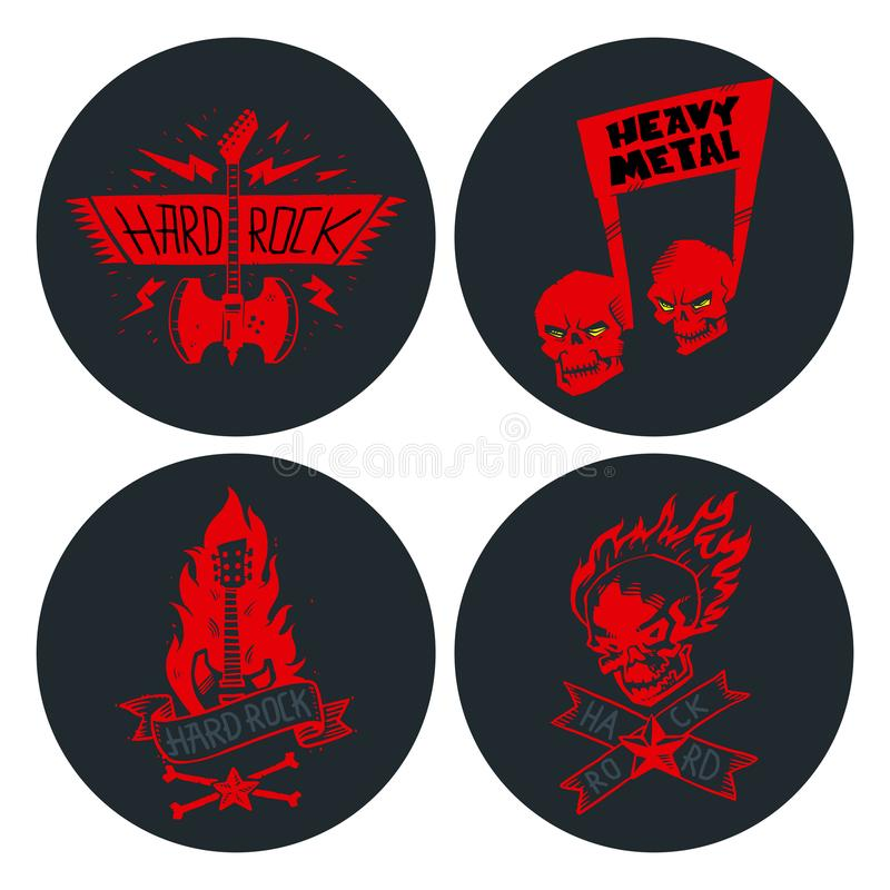 Etiqueta pesada del vintage del vector de la insignia de la música rock con el ejemplo duro del emblema de la etiqueta engomada d libre illustration