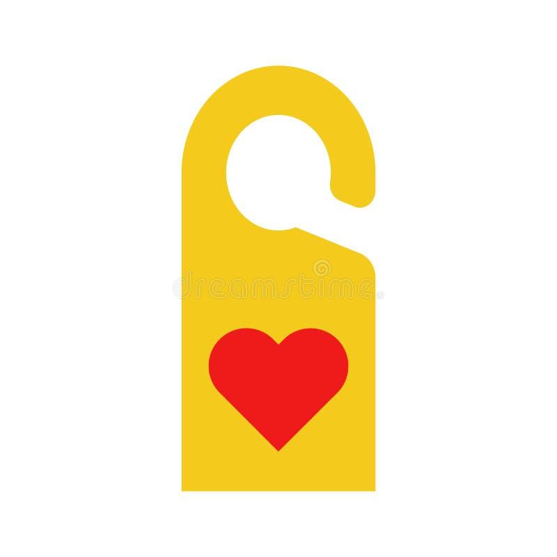 Etiqueta plana de la puerta del hotel del icono stock de ilustración