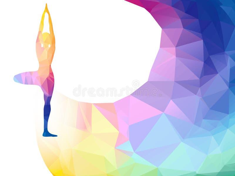 Etiqueta poligonal del arco iris del vector con la silueta de la mujer de la actitud de la yoga Fondo del cartel o del aviador de stock de ilustración