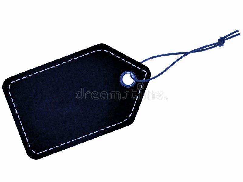 Etiqueta preta da etiqueta com corda e os pontos azuis fotos de stock royalty free
