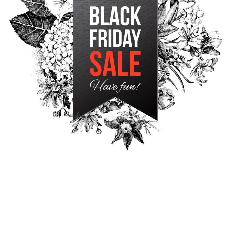 Etiqueta preta da venda de sexta-feira ilustração royalty free