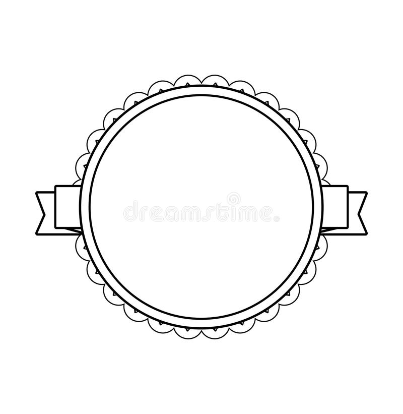 Etiqueta preta do círculo com beira laçado ilustração royalty free