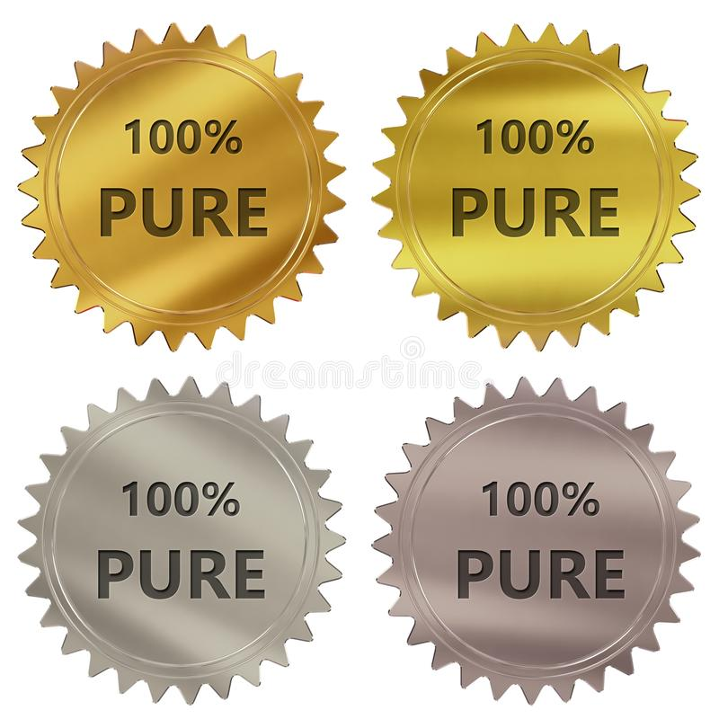 etiqueta pura da garantia de 100% ilustração do vetor