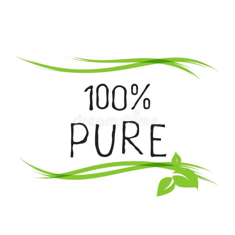 Etiqueta 100 pura e crach?s de alta qualidade do produto ?cone do produto org?nico, bio e natural do bio alimento saud?vel de Eco ilustração do vetor