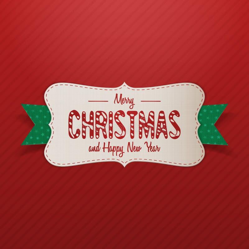 Etiqueta realista de la Feliz Navidad con la cinta verde stock de ilustración
