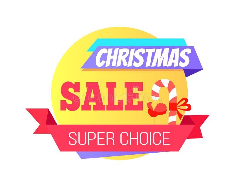 Etiqueta redonda bien escogida estupenda especial de la venta de la Navidad ilustración del vector