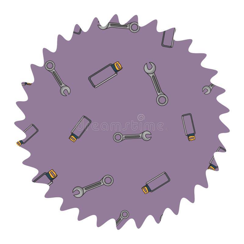 Etiqueta redonda da chave e do serrote ilustração do vetor