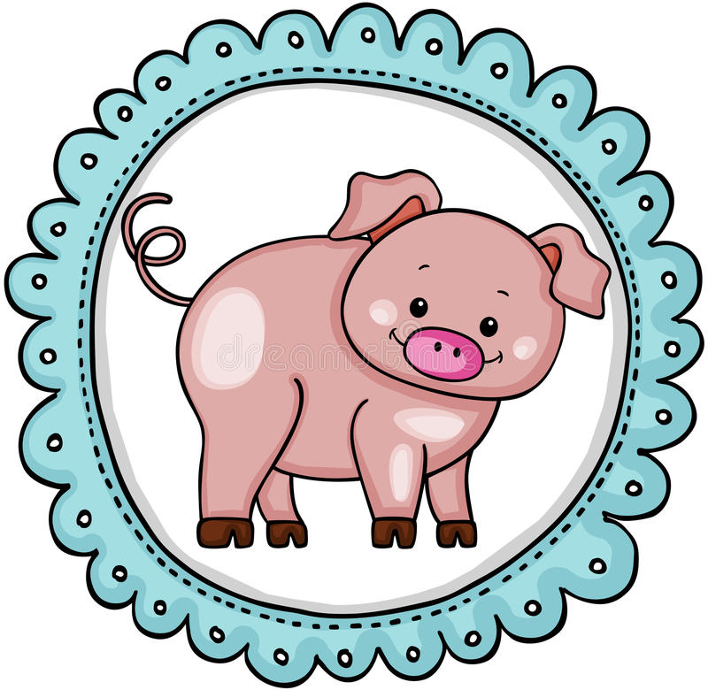 Etiqueta redonda da etiqueta bonito do porco ilustração do vetor