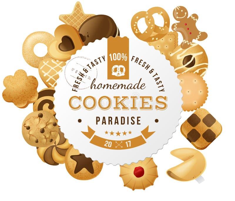 Etiqueta redonda das cookies caseiros ilustração stock