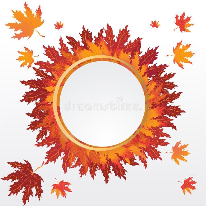 Etiqueta redonda das folhas de outono ilustração royalty free