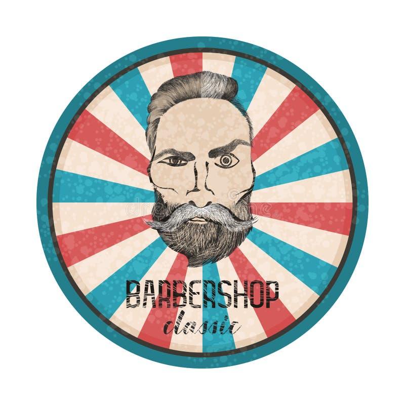 Etiqueta redonda del vector Hombre barbudo del inconformista con moustage Designet para los babershops etc libre illustration