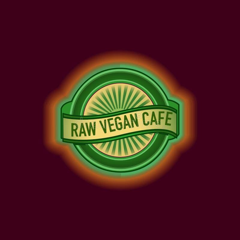 Etiqueta redonda do café do vegetariano Selo redondo etiqueta selo Sinal de néon do café do vegetariano ilustração royalty free