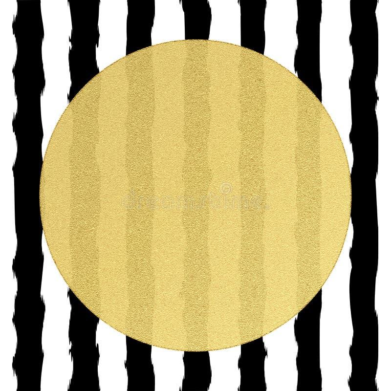 Etiqueta redonda dourada do círculo com estrutura do volume no fundo preto e branco das listras Eps 10 ilustração stock