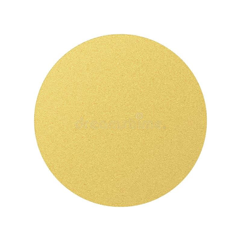 Etiqueta redonda dourada do círculo com estrutura do volume Objeto isolado no fundo transparente Eps 10 ilustração royalty free