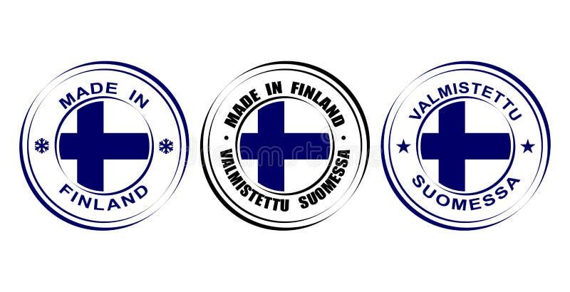 Etiqueta redonda feita em Finlandia com bandeira ilustração royalty free