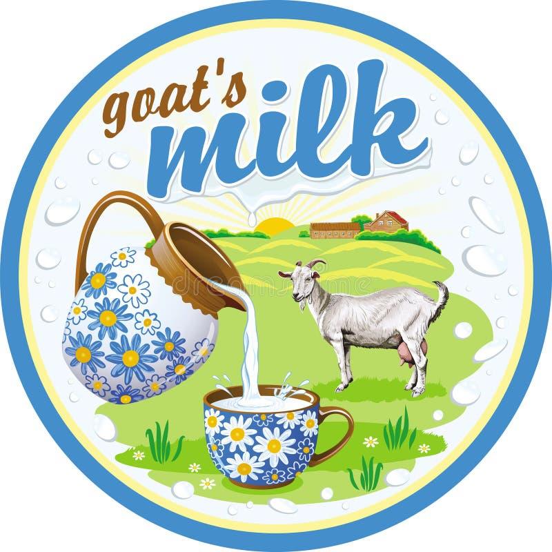 Etiqueta redonda no leite do ` s da cabra ilustração stock