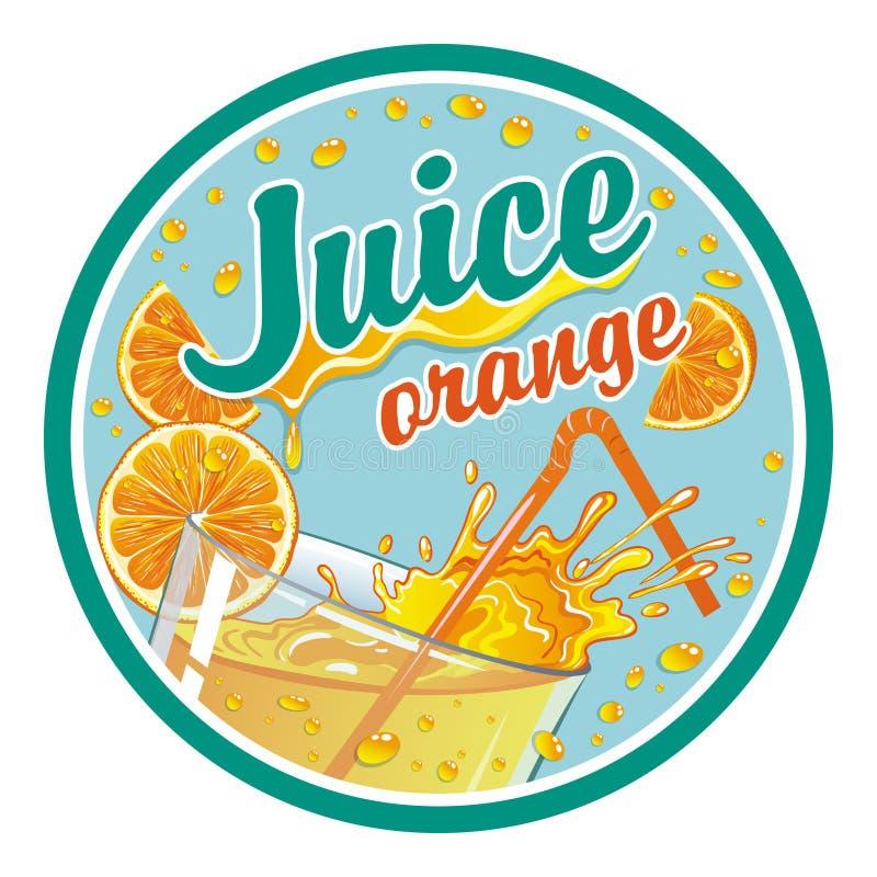 Etiqueta redonda no suco de laranja ilustração do vetor