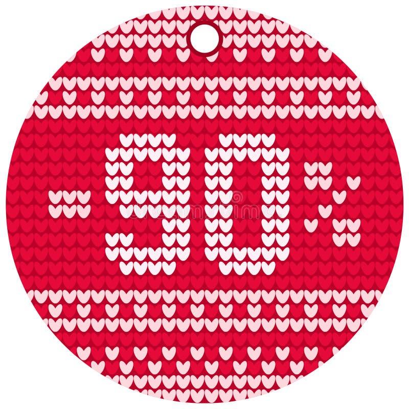 Etiqueta redonda vermelha de confecção de malhas da venda do vetor imagem de stock royalty free