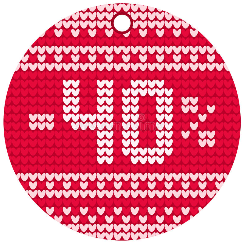 Etiqueta redonda vermelha de confecção de malhas da venda do vetor fotografia de stock