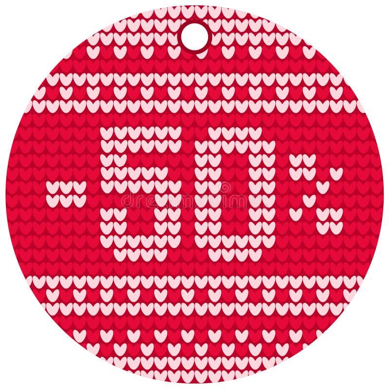 Etiqueta redonda vermelha de confecção de malhas da venda do vetor fotografia de stock royalty free