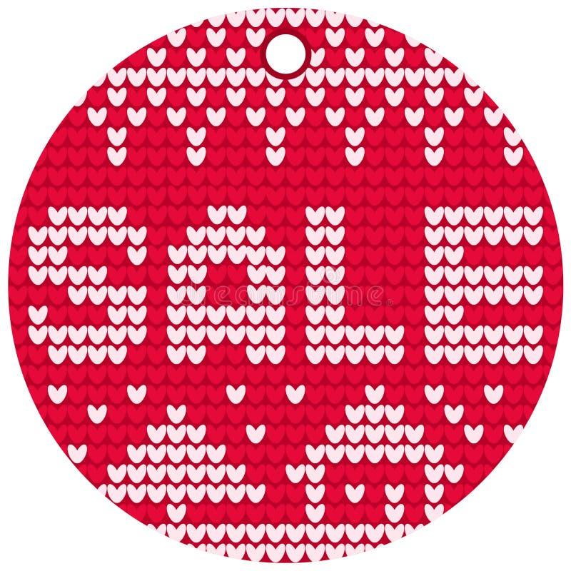 Etiqueta redonda vermelha de confecção de malhas da venda do vetor imagens de stock