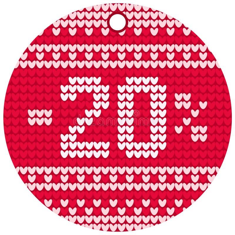 Etiqueta redonda vermelha de confecção de malhas da venda do vetor imagem de stock