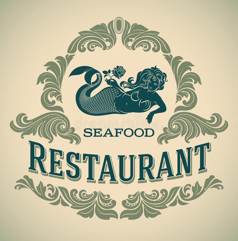 Etiqueta restautant de los mariscos de la sirena stock de ilustración