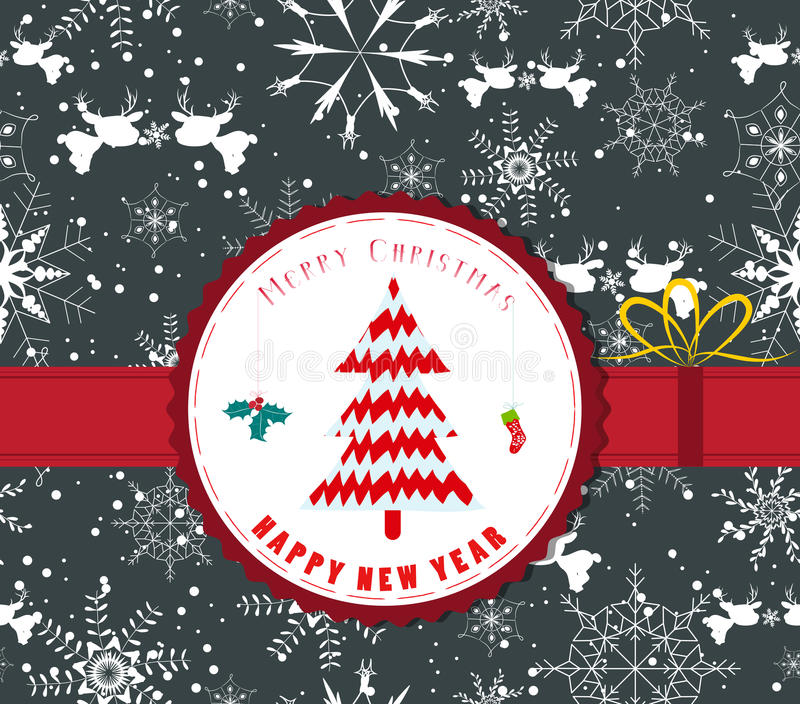 Etiqueta retra de la Navidad del vintage con el árbol ilustración del vector