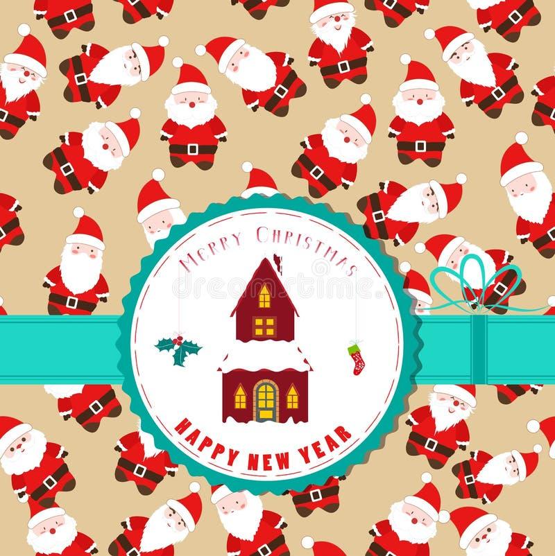 Etiqueta retra de la Navidad del vintage con la casa de la Navidad stock de ilustración