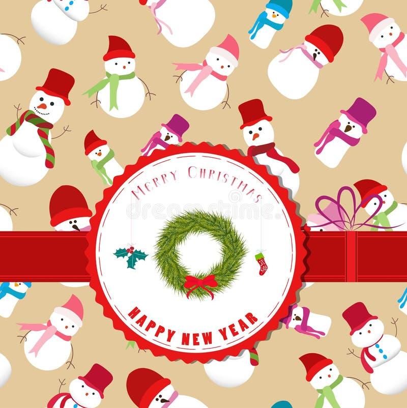 etiqueta retra de la Navidad del vintage con la guirnalda stock de ilustración