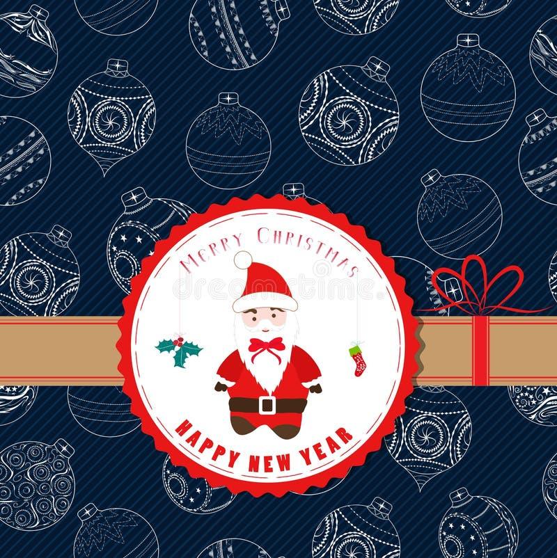 Etiqueta retra de la Navidad del vintage con Papá Noel libre illustration