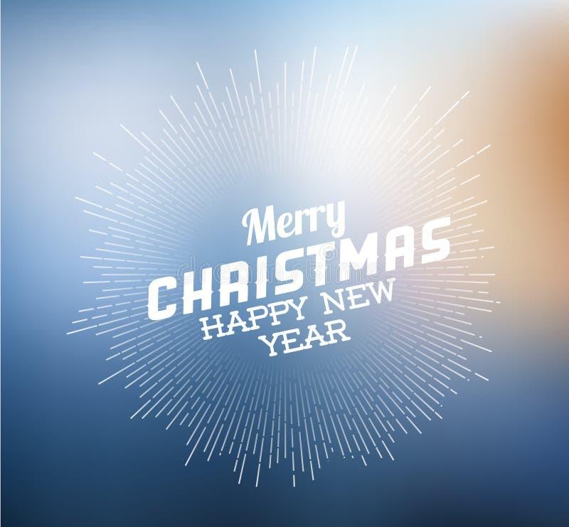 Etiqueta retra de la Navidad en fondo borroso libre illustration