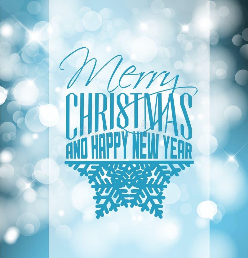 Etiqueta retra de la Navidad en fondo borroso ilustración del vector