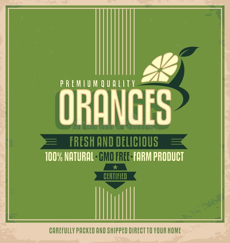 Etiqueta retra de las naranjas ilustración del vector