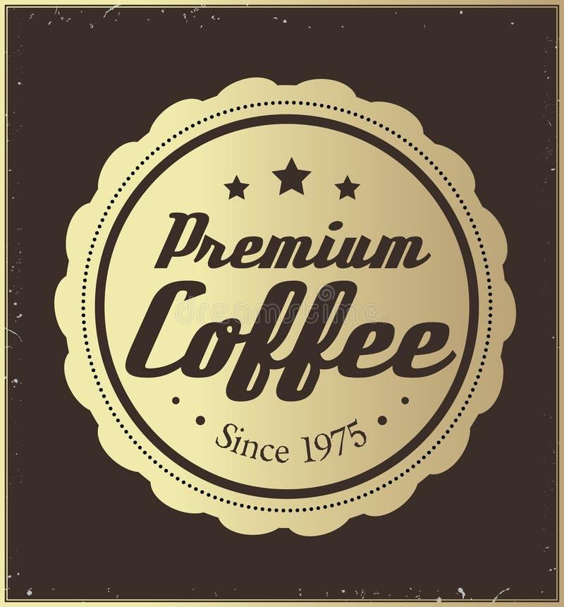 Etiqueta retra de oro del café libre illustration