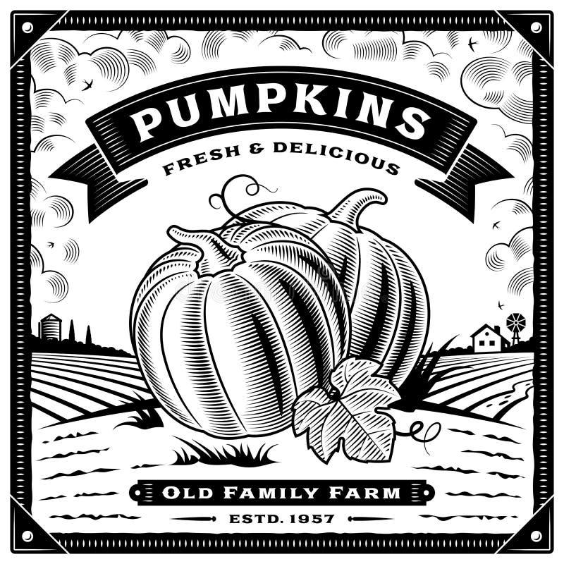 Etiqueta retro da colheita da abóbora com a paisagem preto e branco ilustração stock