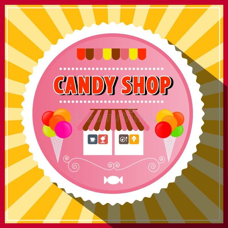 Etiqueta retro da loja dos doces ilustração stock