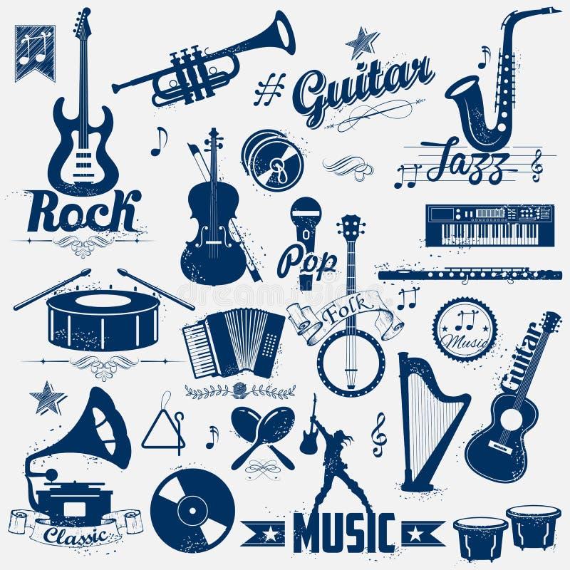 Etiqueta retro da música ilustração do vetor