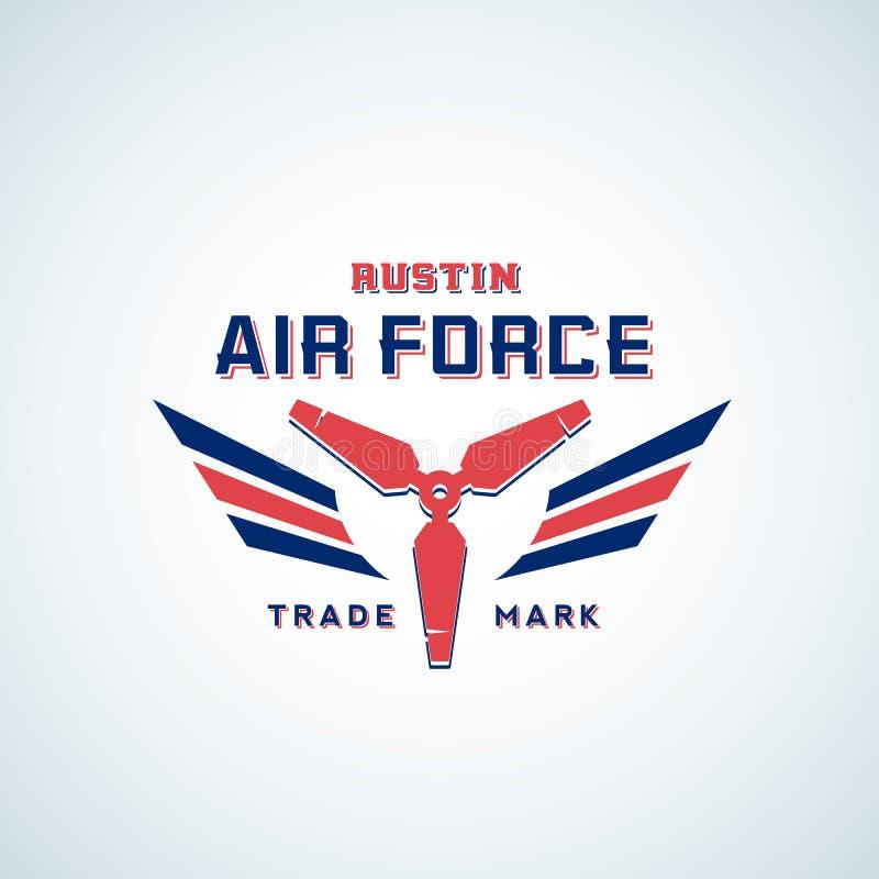 Etiqueta retro, sinal ou Logo Template do vetor da força aérea Hélice do avião com as asas em cores vermelhas e azuis ilustração royalty free