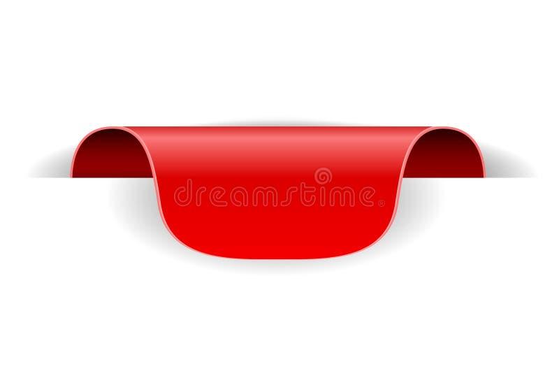 Etiqueta roja de la etiqueta engomada 3d de la etiqueta con la sombra transparente libre illustration