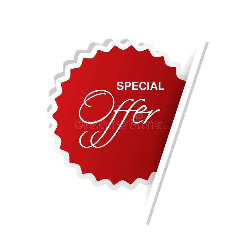 Etiqueta roja de la publicidad con oferta especial del texto Etiqueta engomada circular insertada conforme a la página del Libro  libre illustration