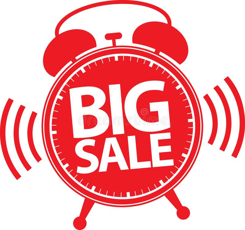 Etiqueta roja del despertador grande de la venta, vector libre illustration