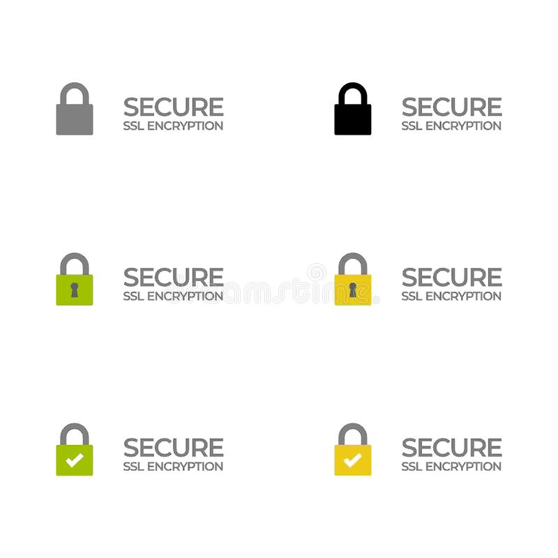 Etiqueta segura /button /bar da criptografia do SSL ilustração do vetor